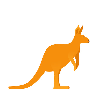 Kangaroo icon. Vector. Australian fauna isolated on white background. Orange wallaby. Color illustration in flat design. Symbol of Australia. Cartoon wallaroo.