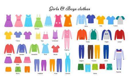 Babykleidung. Vektor. Kindermodelle. Kinderkleidungsset. Mädchen, Jungentuch. Kinderkleidung. Bekleidung isoliert auf weißem, flachem Design. Cartoon-Abbildung. Mode-Ikonen. Kleiderskizzen. Kleid-Silhouette. Vektorgrafik