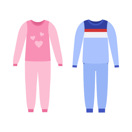 Pajama for girl, boy. Vector. Baby nightwear. Sleepwear isolated on white in flat design. Night clothes icons. Cartoon illustration. Clothing set. Apparel sketch. Garment silhouette.