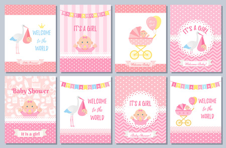 Baby Shower card. Vector Baby girl design. Welcome banner. Cute born party background. Birth template invite. Pink happy greeting poster with kid, stork, pram, polka dot print. Cartoon illustration 일러스트