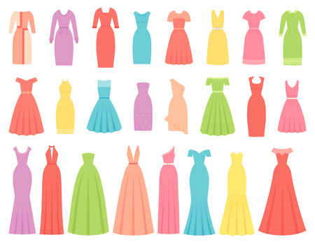 Dress for women. Vector. Evening, cocktail and business dresses. Dress apparel set isolated. Girl clothing in flat design. Cartoon illustration. Female textile garment silhouette on white background. Illusztráció