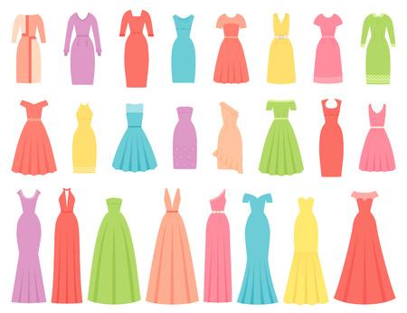 Kleid für Frauen. Vektor. Abend-, Cocktail- und Businesskleider. Kleid Bekleidungssatz isoliert. Mädchenkleidung im flachen Design. Cartoon-Abbildung. Weibliches Textilkleidungsschattenbild auf weißem Hintergrund.