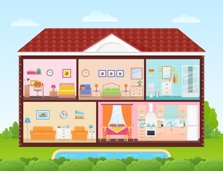 House inside, interior. Vector. Home cross section with rooms bedroom, living room, kitchen, dining, bathroom, nursery. Cartoon house in cut with roof, pool, tree, sky Cutaway illustration flat design