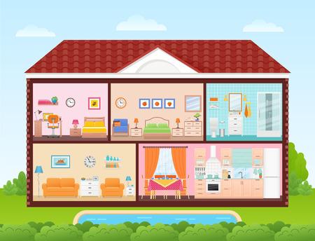 Huis binnen, interieur. Vector. Huis dwarsdoorsnede met kamers slaapkamer, woonkamer, keuken, eetkamer, badkamer, kinderkamer. Cartoon huis in snit met dak, zwembad, boom, lucht Cutaway illustratie plat ontwerp Vector Illustratie
