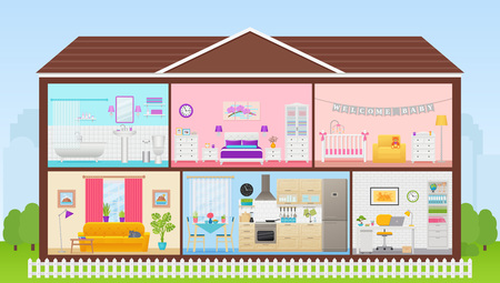 House interior. Vector. Cartoon house cross section. Home inside, in cut. Rooms bedroom, living room, kitchen, office, bathroom, nursery. Cutaway building with roof. Illustration in flat design.
