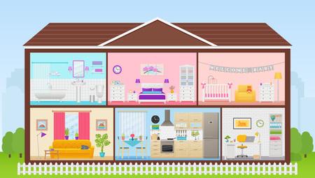Interno della casa. Vettore. Sezione trasversale della casa del fumetto. Casa dentro, in taglio. Camere camera da letto, soggiorno, cucina, ufficio, bagno, asilo nido. Edificio in spaccato con tetto. Illustrazione in design piatto.