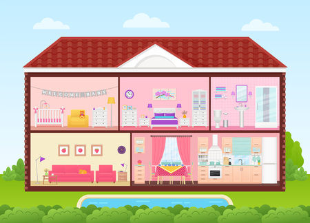House cross section. Vector. Home inside with bedroom, living room, kitchen, dining, bathroom, nursery. Rooms interiors. Cartoon house in cut with roof, pool, tree. Cutaway illustration flat design
