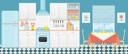 Kitchen interior with retro appliances, furniture. Vector. Vintage dining room with window, stove, cupboard, mixer and fridge in flat design. Cooking blue banner. Cartoon illustration.