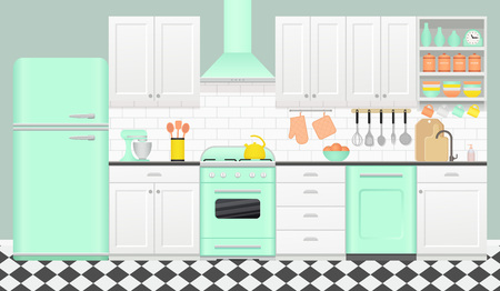 Keukeninterieur met retro toestellen, meubilair. Vector. Vintage kamer met fornuis, kast, mixer, koelkast en geblokte vloer in plat design. Koken spandoek. Cartoon munt groene illustratie.