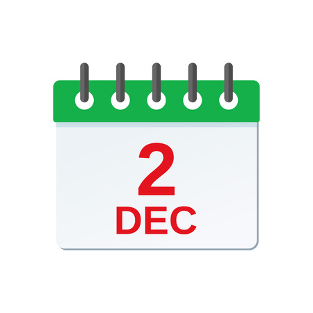 December 2 calendar icon. National day of the United Arab Emirates reminder calendar. Vector. Planner holiday date isolated on white background. Color illustration in flat design.