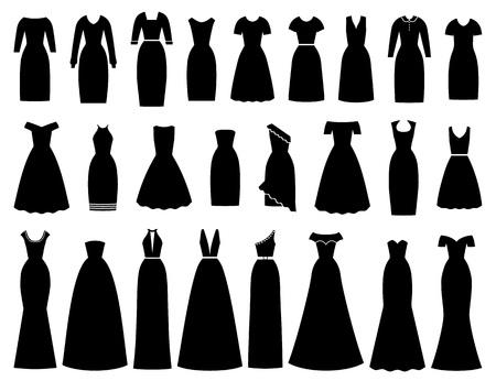 Icona del vestito per le donne. Vettore. Sera, cocktail, abiti da lavoro. Set di abbigliamento sagoma nera isolato. Collezione abbigliamento ragazza. Indumento tessile femminile su sfondo bianco Illustrazione, design piatto