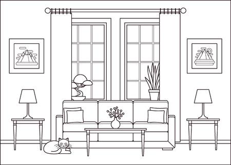 Interior de la sala de estar. Vector. Boceto de línea. Esquema de diseño plano de casa con muebles, ventana. Fondo de salón lineal. Equipo de la casa de dibujos animados. Ilustración de línea fina. Página para colorear.