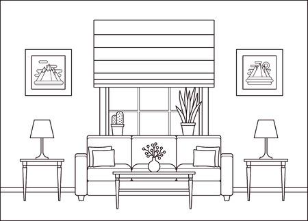 Interior de la sala de estar. Sala lineal con ventana en diseño plano. Vector. Fondo de contorno. Espacio para el hogar con muebles en line art. Ilustración de línea de salón. Equipo de la casa de dibujos animados. Página para colorear.