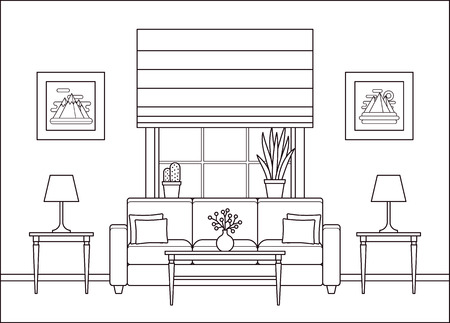 Living room interior. Linear room with window in flat design. Vector. Outline background. Home space with furniture in line art. Lounge line illustration. Cartoon house equipment. Coloring page.