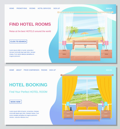 Hotel room. Vector. Bedroom Interior. Sale, Hotel booking, find room banner, flyer, website, site. Web page design template. Poster with furniture, sea landscape window, bed, text Cartoon illustration Ilustracja