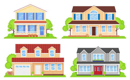 House exterior front view. Vector. Home facade with roof. Townhouse building. Set modern cottages with tree, bush, yard. Residential estate. Suburb apartment architecture. Cartoon flat illustration.