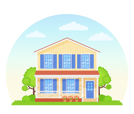 House exterior front view. Vector. Home facade. Townhouse building. Modern cottage with roof, tree, bush yard. Residential estate. Suburb architecture. Landscape neighborhood Cartoon flat illustration