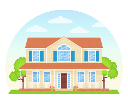 House exterior front view. Vector. Home facade. Landscape of neighborhood. Townhouse building. Modern cottage with roof, tree, yard. Suburb architecture. Residential estate. Cartoon flat illustration