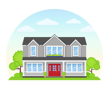 House exterior front view. Vector. Modern cottage with roof, tree, yard. Home facade. Landscape of neighborhood. Townhouse building. Suburb architecture. Cartoon flat illustration. Residential estate  イラスト・ベクター素材