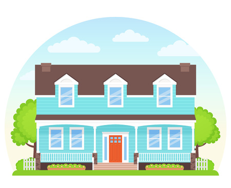 House exterior front view. Vector. Home building facade. Landscape of residential neighborhood, townhouse. Modern cottage with roof, tree, yard. Suburb architecture. Cartoon flat illustration. Illustration