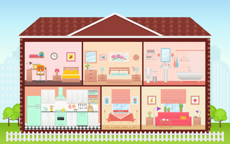 House inside, room interior. Vector. Cartoon house cross section. Home in cut. Bedroom, living room, kitchen, bathroom and nursery. Cutaway building with roof. Illustration in flat design.