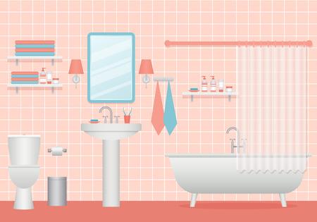 Intérieur de la salle de bain. Vecteur. Salle de dessin animé avec baignoire, lavabo et étagères. Toilettes avec mobilier, plomberie au design plat. Illustration animée. Contexte de la maison.