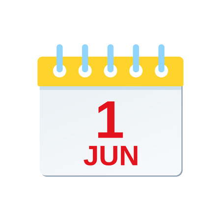June 1 calendar icon. International Children Day reminder calendar. Vector. Planner holiday date isolated on white background. Color illustration in flat design.