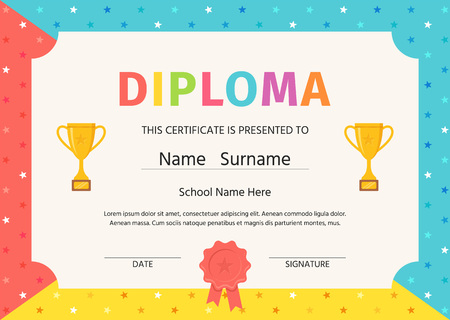 Diploma for kids. Certificate background. Vector. Winner blank with trophy cups and award ribbon. Preschool, kindergarten, school template graduation backdrop. Layout design. Cartoon illustration.
