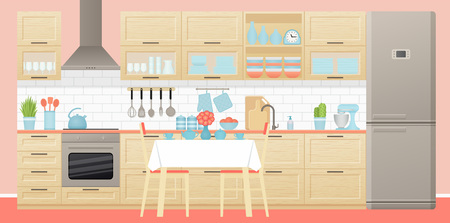 Kitchen interior. Vector. Room with appliances, furniture dining table, stove, cupboard, blender and fridge in flat design. Cartoon illustration. Cooking banner.