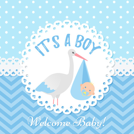 Baby invite card. Vector Baby Shower boy design. Cute blue banner. Birth party background. Happy greeting poster. Welcome template invitation with stork and newborn kid. Cartoon illustration. Stock Illustratie
