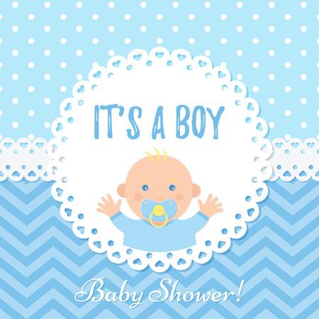 Carte de bébé garçon. Conception de garçon de douche de bébé. Bannière bleue mignonne. Vecteur. Fond de fête de naissance. Affiche de voeux heureux. Invitation de modèle de bienvenue avec enfant nouveau-né, pois, zigzag. Illustration de dessin animé