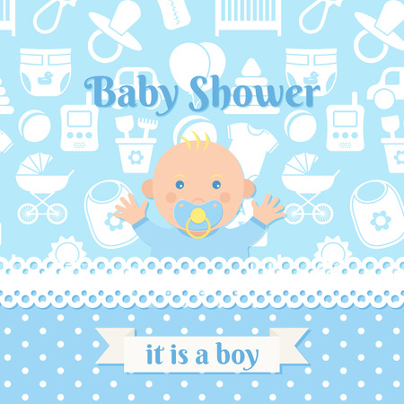 Baby Shower boy invite card. Vector. Baby banner. Blue design invitation. Cute birth party background. Happy greeting poster. Welcome template with newborn kid, polka dot. Cartoon flat illustration. Illustration