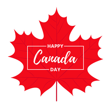 Canada Day. Vector. Happy Canada Day banner with maple leaf. Greeting card, poster, background template. Colorful red illustration. Иллюстрация