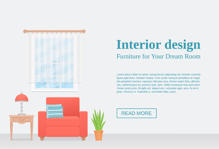 Living room interior. Vector. Room with coral armchair, table, lamp on empty wall with space for text. Template banner. Modern background. Cartoon illustration. Flat furniture. Lounge home design.