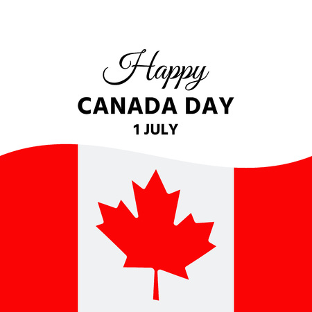 Happy Canada Day. Vector. Canadian National Day banner with maple leaf and flag. Greeting card, poster, background template. Colorful illustration. Stock Illustratie