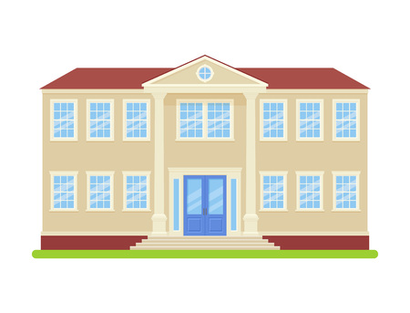 University building. Vector. College front view. Facade of education building. High school icon isolated on white background. Cartoon flat illustration. Street architecture.
