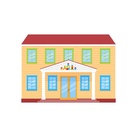 Costruzione della facciata dell'asilo. Vettore. Vista frontale dell'edificio prescolare. Icona di scuola materna isolato su priorità bassa bianca. Piatto del fumetto. Architettura di educazione di strada. Vettoriali