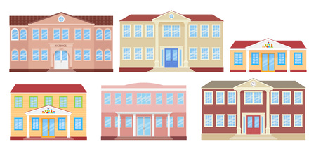 School building, university, kindergarten and college. Vector. Schoolhouse front view. Facade of education building. Set architecture icons isolated on white background. Cartoon flat illustration. Illustration