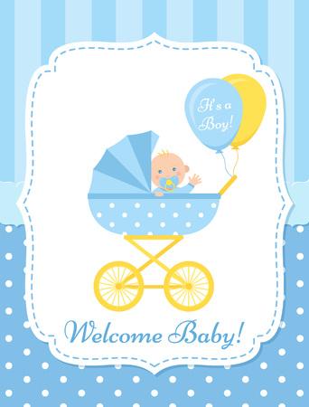 Tarjeta de bebé. Vector. Banner de invitación de Baby Shower. Invitación de diseño azul. Fondo de fiesta de nacimiento lindo. Plantilla de bienvenida. Cartel de saludo feliz con niño recién nacido y cochecito. Ilustración plana de dibujos animados. Ilustración de vector