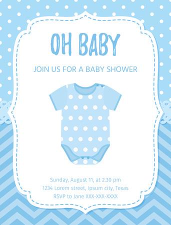 Scheda dell'invito dell'acquazzone di bambino. Vettore. Disegno del neonato blu. Banner di invito modello di benvenuto. Sfondo della festa di nascita. Vettoriali