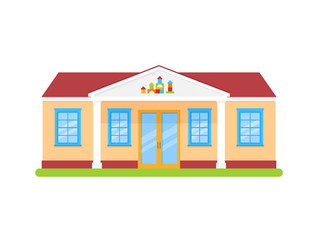 Kindergarten. Vector. Preschool building front view. Facade of education building. Nursery school icon isolated on white background. Cartoon flat illustration. Street architecture.
