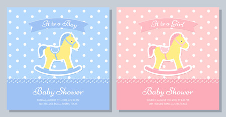 Baby Shower card. Vector. Baby invitation banner. Welcome boy, girl template invite. Birth party background with rocking horse. Happy greeting holiday poster. Blue pink design. Flat illustration Illustration