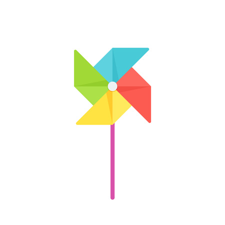Pinwheel baby toy. Vector. Paper windmill icon. Kids toy isolated on white background in flat design. Colorful cartoon illustration.