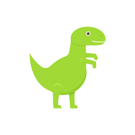 Dinosaur baby toy. Vector. Dino kids toy. Green tyrannosaurus icon isolated on white background in flat design. Cartoon illustration.