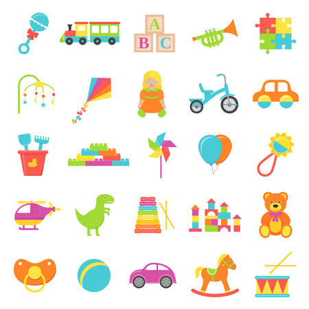 Baby toy. Vector. Set kids toys isolated. Baby shower stuff in flat design on white background. Colorful cartoon illustration. Collection children icons. Illusztráció