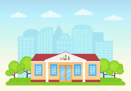 Preschool building exterior on landscape background. Vector. Kindergarten front view. Facade of education building. Nursery school icon. Cartoon flat illustration. Street architecture. Иллюстрация