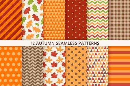 Autumn pattern. Vector. Seamless background with fall leaves, zig zag, polka dot and stripes. Set seasonal geometric wallpapers. Colorful cartoon illustration in flat design. Abstract texture.