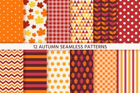 Autumn pattern. Vector. Seamless background with fall leaves. Set seasonal geometric wallpapers. Colorful cartoon illustration in flat design. Abstract texture. Vector Illustration