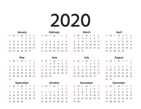 Calendar 2020 in simple style. Vector. Stationery 2020 year template in minimal design. Week starts Sunday. Landscape orientation illustration. Yearly calendar organizer for weeks. 矢量图像