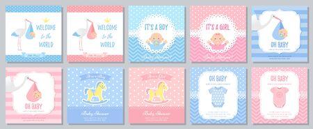 Baby Shower invitation. Vector. Baby boy girl invite card. Welcome template banner. Blue, pink design. Birth party background. Set greeting posters with newborn kid, stork, horse. Cartoon illustration Standard-Bild - 127740841